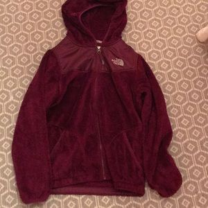 the North face girls cranberry colored jacket
